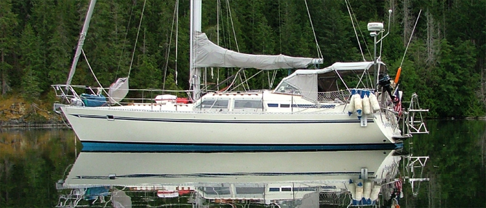 Solstice at anchor in Desolation Sound, British Columbia