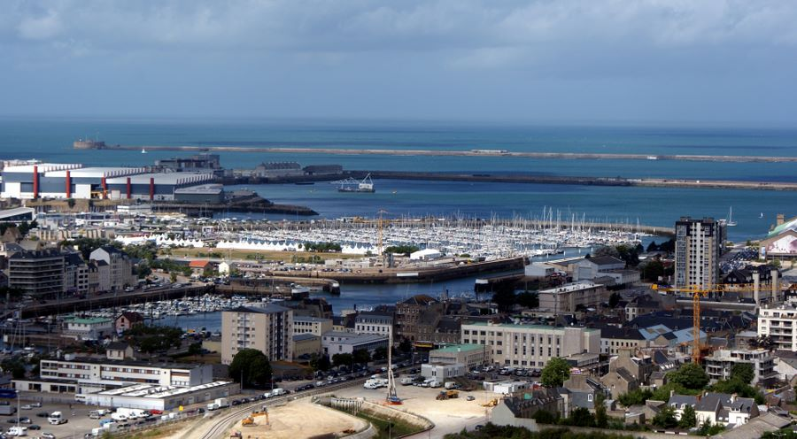 View of Cherbourg harbor from the fort on the hill