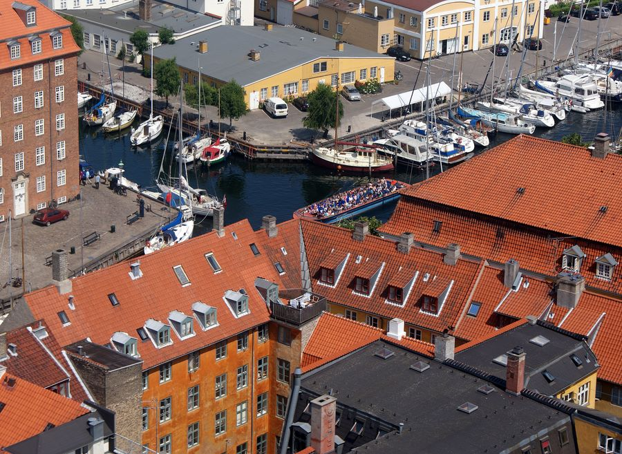 View of Copenhagen canal tour from the top of Vor Frelsers Kirke