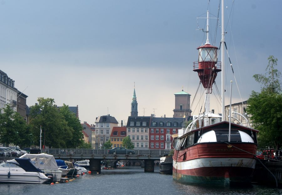 Lightship on canal in old Copenhagen